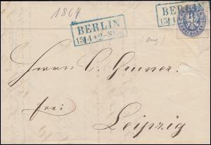 Preußen 17 Adler 2 Sgr EF Brief Rahmen-O in Blau BERLIN 15.4.1864 nach LEIPZIG