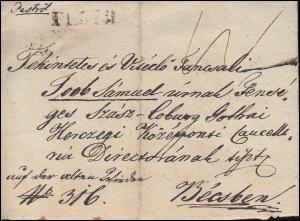 Ungarn Vorphilatelie privater R-Brief aus PESTH vom 8.7.1837 nach WIEN 11.7.