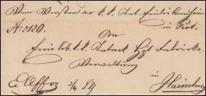 Ungarn Vorphilatelie Brief aus PESTH vom 13.9.1846 nach HAINBURG 16.9.