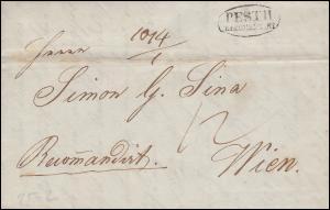 Ungarn Vorphilatelie R-Brief Ovalstempel PESTH RECOMENDIRT vom 11.1.1840 n. Wien