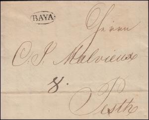 Ungarn Vorphilatelie Brief Oval-O BAYA vom 4.12.1834 nach Oval-O PESTH 8.12.