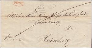 Ungarn Vorphilatelie Halbportobrief roter Oval-O PESTH vom 23.1.1837 n.Hainburg
