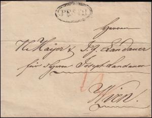 Ungarn Vorphilatelie Briefhülle Doppelkreisstempel PESTH aus 1827 nach Wien