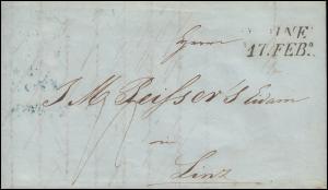 Ungarn Vorphilatelie Brief aus Ofen vom 16.2.1843 nach Zweizeiler LINZ 21. FEB.