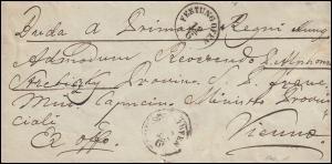 Ungarn Dienstpost Ex-officio-Brief FESTUNG OFEN 12.6.1852 nach WIEN 13.6.