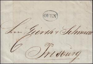 Ungarn Vorphilatelie Brief Oval-O OFEN vom 24.11.1849 nach PRESSBURG 26.11.
