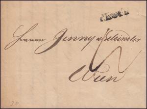 Ungarn Vorphilatelie Brief Einzeiler PESTH vom 10.6.1842 nach WIEN 13.6.