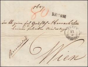 Ungarn Vorphilatelie R-Bf. RECOM und Zweizeiler PESTH 11.5.1850 nach WIEN 13.5.