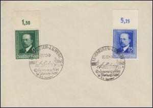 760-761 Emil von Behring als Oberrandstücke Blanko-Brief SSt LEVERKUSEN 4.12.40