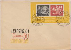 Block 7 DEBRIA auf Brief Drei-Farben-Stempel + zwei SSt LEIPZIG 29.8.50