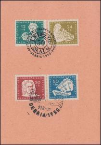 256-259 Bach 1950 - Stempelkarte mit Satz, zwei SSt LEIPZIG DEBRIA 29.8.1950