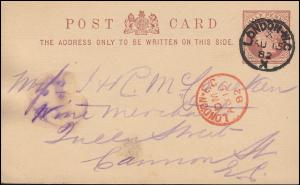 Postkarte P 5 Königin 1/2 P. schwarz LONDON W.C. 15.8.82 / rot LONDON E.C. 15.8.