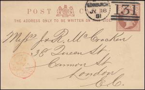 Postkarte P 5 Königin 1/2 P. von EDINBURGH 131 - 18.7.81 nach LONDON E.C. 18.7.