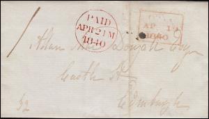 Großbritannien Vorphilatelie Brief aus OBAN 19.4.1840 mit PAID-O 21. APR. 1940