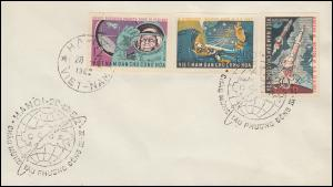 Vietnam 240-242U Weltraumflug Wostok III und IV, Satz ungezähnt auf FDC 28.12.62