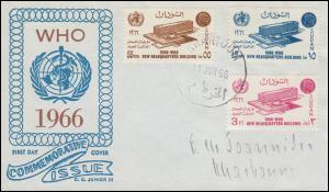 Sudan 224-226 Weltgesundheitsorganisation WHO Headquarters Schmuck-FDC 11.6.1966