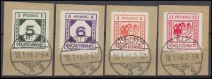 Görlitz 9-12 Freimarken, darunter die PLF Wappenbruch 11I und 12I, Satz 4 Bfst.