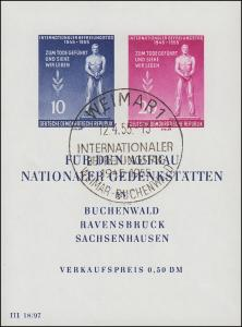 Block 11 Gedenkstätten mit Sonderstempel SST Weimar 12.4.55