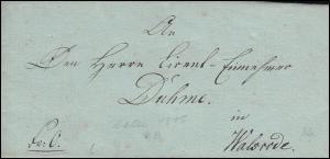 Preußen Vorphilatelie Faltbrief Zelle /Celle nach Walsrode, geschrieben 4.8.1806