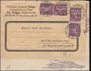 164 Ziffer 50 Pf MeF BRESLAU 13.2.22 nach Berlin wiederverwendeter Briefumschlag