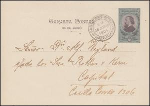 Argentinien Bildpostkarte Denkmal General Martin, SSt Bartolome Mitre 26.6.1901