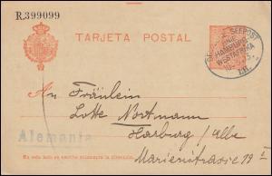 DEUTSCHE SEEPOST LINIE HAMBURG-WESTAFRIKA LII. 10.3.13 auf spanischer Postkarte