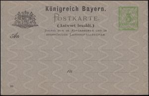 Doppel-Postkarte P 35 Ziffer 3/3 Pf DV 89 Wz. x, hellgrün / grau, ungebraucht **
