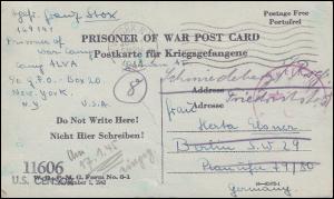 Kriegsgefangenenpost Karte aus USA US CENSUR 11606 NEW YORK 4.6.44 nach Berlin