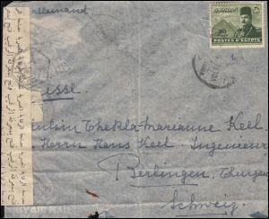 Zensur Ägypten 319 König Farouk auf Brief um 1947/48 in die Schweiz