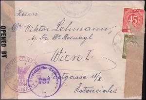 Zensur Österreichische Zensurstelle 737 und U.S. 10555 Brief REGENSBURG n. Wien