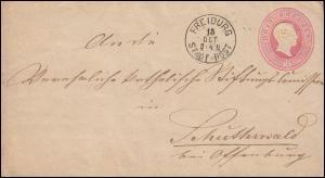 Baden Umschlag 3 Kreuzer Großherzog Friedrich von FREIBURG STADT-POST 15.10.
