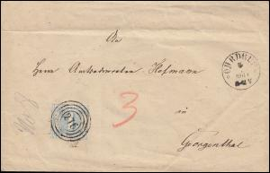 Thurn und Taxis 15 Ziffer 1 Sgr Brief Vierring 276 OHRDRUF 1864 nach Georgenthal