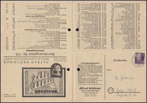 Preisliste als Falt- Drucksache von Briefmarken Brückner BERLIN 19.4.49 n. Hagen