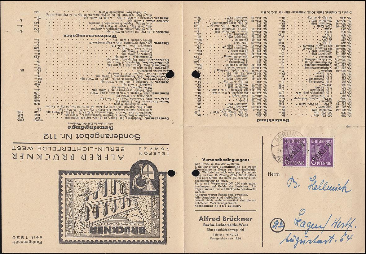 2 Schwarzaufdruck 6 Pf im Paar Preisliste als Faltbrief Brückner BERLIN 31.10.48 0