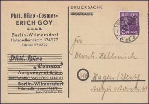 2 Schwarzaufdruck 6 Pf EF Drucksache Philat. Büro Cosmos BERLIN 61 g - 14.1.49