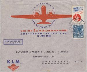 KLM Sonderumschlag NL - Niederländisch Indien Amsterdam-Batavia Juni 1935