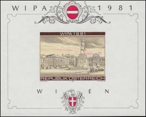 Gedenkblatt 8 Block 5 Ausstellung WIPA 1981 mehrfarbig ohne Gummi (*)