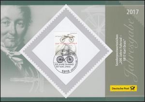Jahresgabe der Post 300 Jahre Fahrrad - 1817 Karl Drais 2017