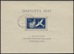 Block 2 Flugzeug Luftpost DAPOSTA mit passendem Luftpost-Ersttags-SST 6.6.1937