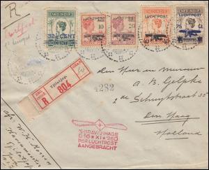 Flugpost Niederl.-Indien 161-165 Aufdruck-Satz Bordstempel S'GRAVENHAGE 16.11.28