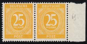 927III Ziffer 25 Pf Randpaar mit PLF III Riß im rechten Rahmen, Feld 69, **