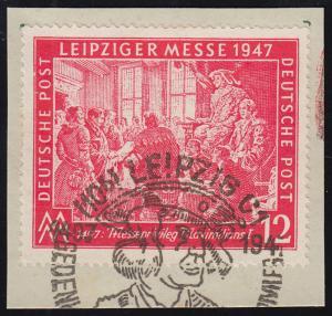 965IV Messe Leipzig 12 Pf mit PLF V gebrochene Rahmenlinie, Briefstück mit SSt