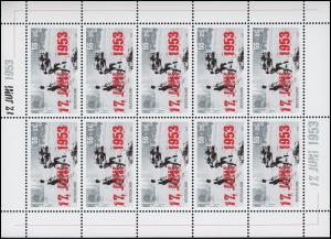 2342 Volksaufstand in der DDR - 10er-Bogen ** postfrisch