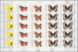 2500-2503 Wofa 2005 Einheimische Schmetterlinge - 10er-Bogen-Satz **