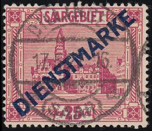 Dienstmarke 14I/IV Aufdruckmarke mit PLF IV M rechts oben abgeschrägt, O