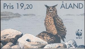 Aland Markenheftchen 4 WWF Naturschutz Eulen Uhu, postfrisch **