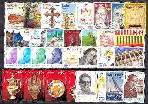 4564-4653 Spanien-Jahrgang 2011 mit Block 204-217 komplett, postfrisch **