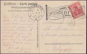 Flaggenstempel D.R. HAMBURG 16.5.1906 auf AK Konzerthaus, nach Grand / Belgien