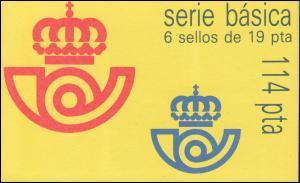 Spanien Markenheftchen 0-3 König Juan Carlos, mit einem Heftchenblatt, **