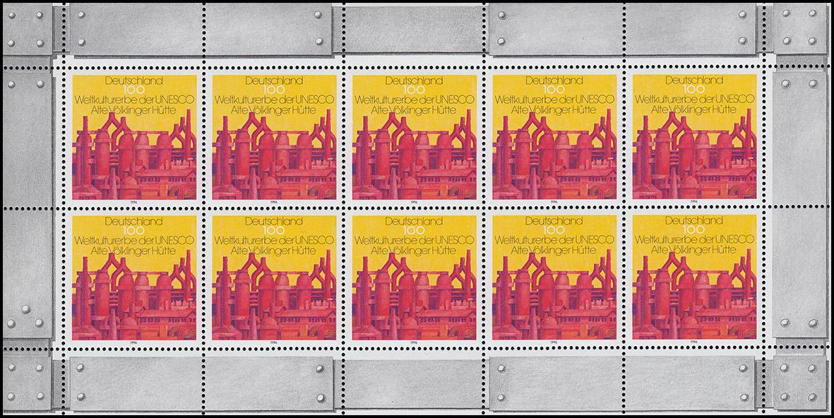 1875 Alte Völklinger Hütte - 10er-Bogen mit Doppel-PLF Felder 2+9, ** 0